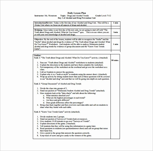 Daily Lesson Plan Template Lovely Daily Lesson Plan Template 14 Free Pdf Word format
