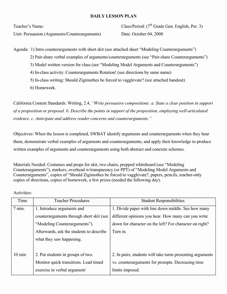 Daily Lesson Plan Template New 14 Free Daily Lesson Plan Templates for Teachers