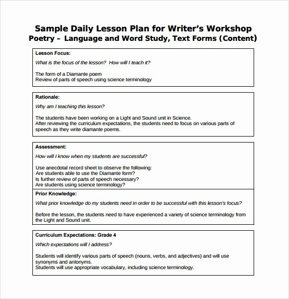 Daily Lesson Plan Template Pdf Fresh 7 Sample Daily Lesson Plans