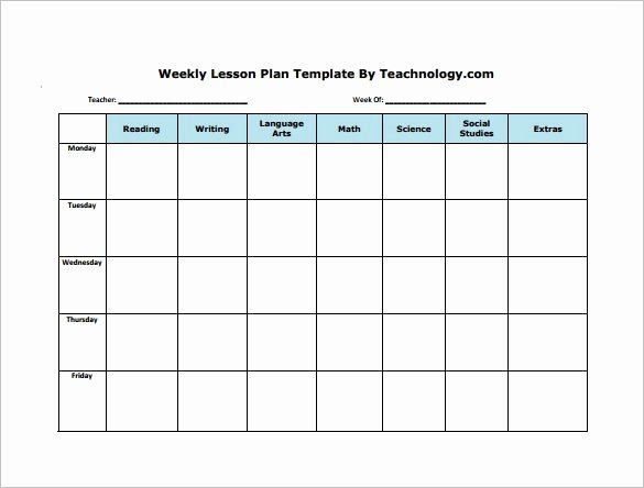 Daily Lesson Plan Template Pdf Lovely Weekly Lesson Plan Template