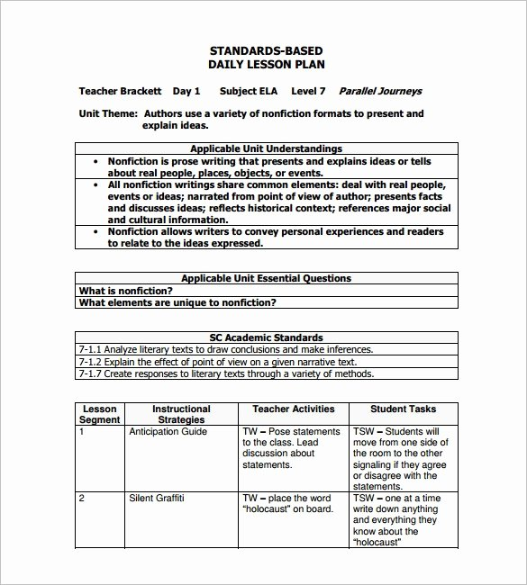Daily Lesson Plan Template Word Lovely Sample Lesson Plan Template