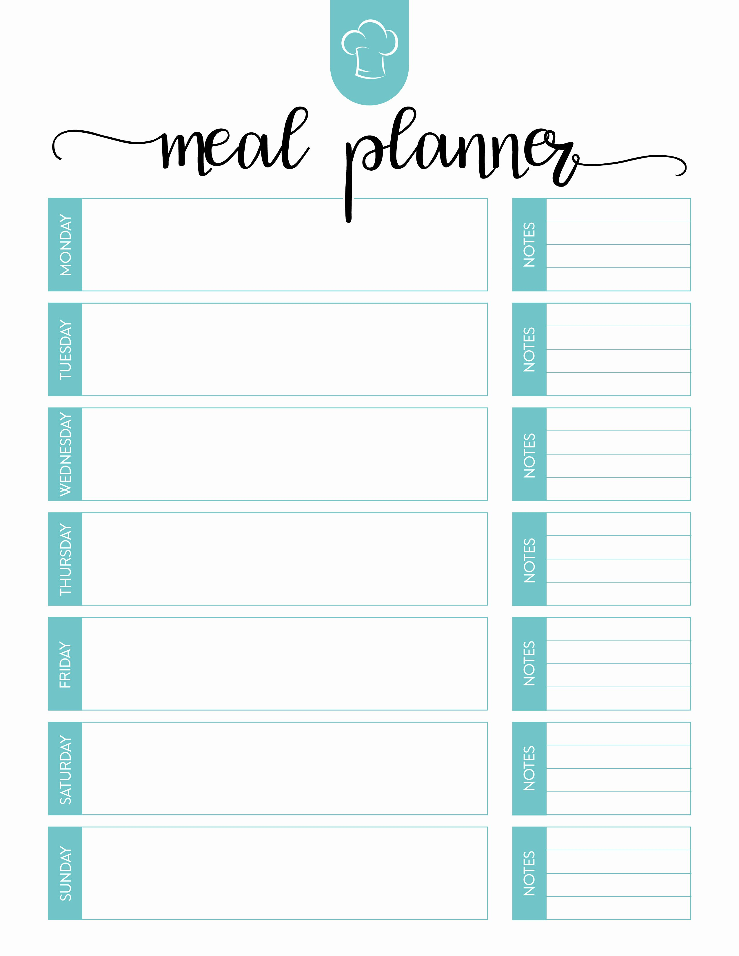 Daily Meal Plan Template Elegant Free Printable Meal Planner Set the Cottage Market