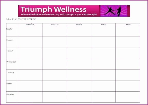 Daily Meal Plan Template Luxury Free Meal Planning Template Triumph Wellness