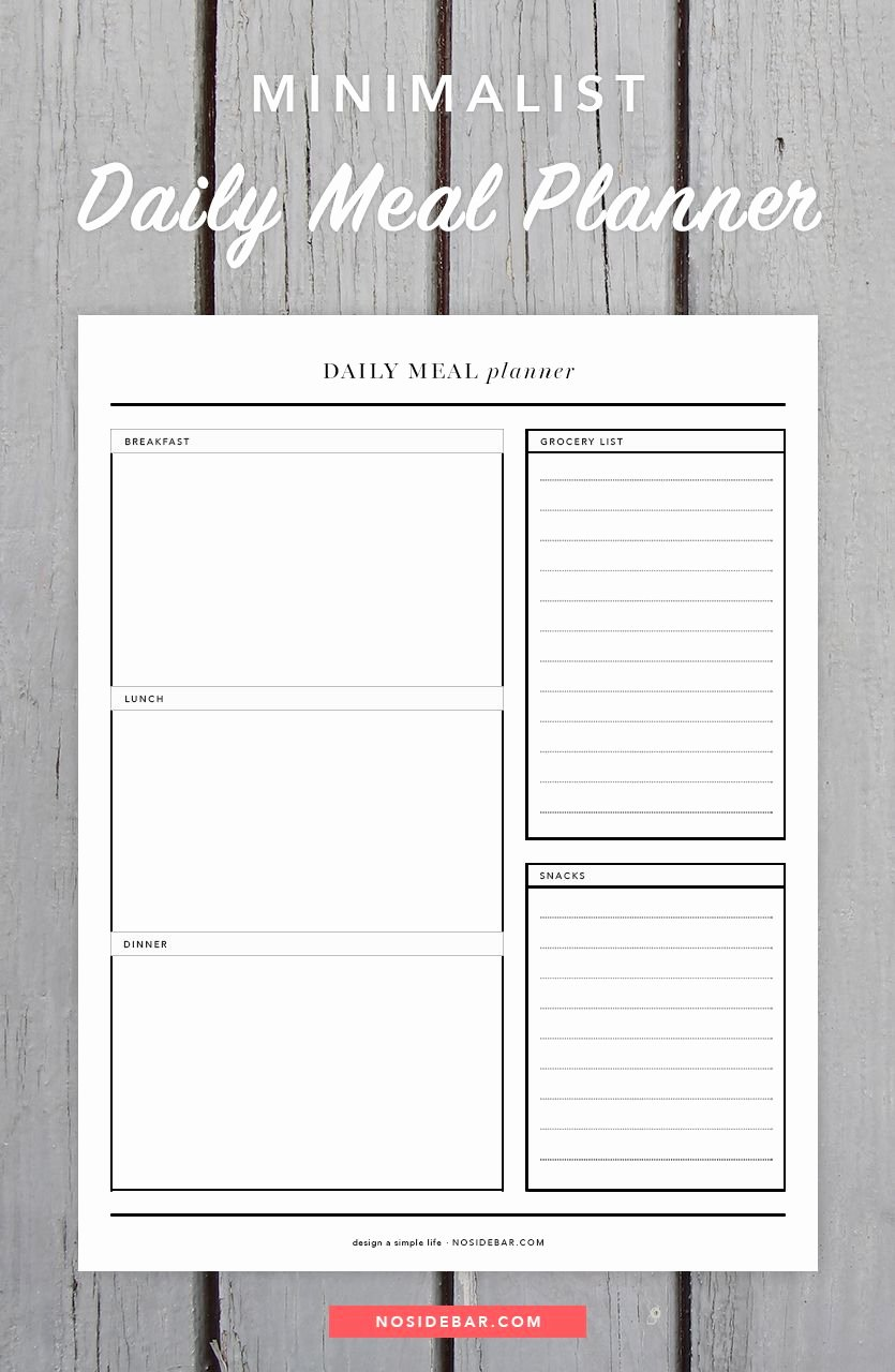 Daily Meal Plan Template Luxury Minimalist Daily Meal Planner Printable