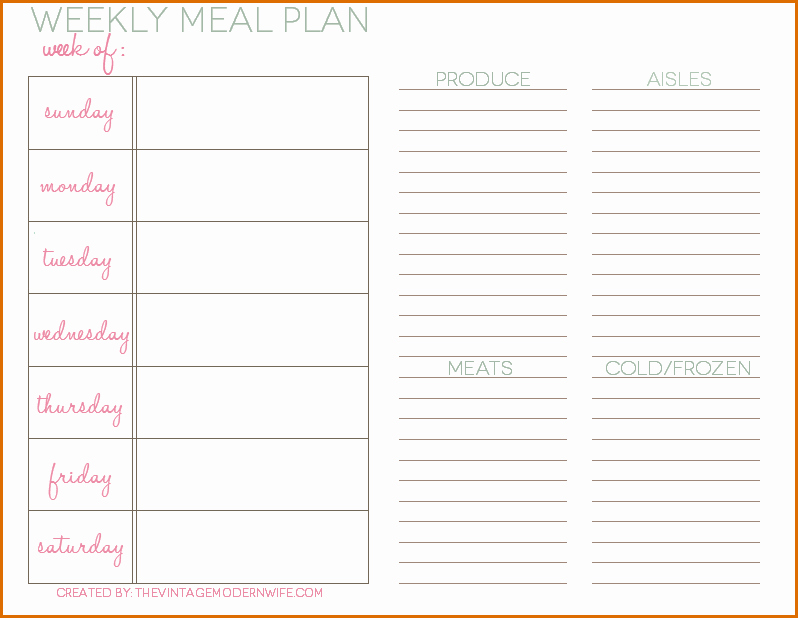 Daily Meal Plan Template New 5 Daily Meal Plan Template