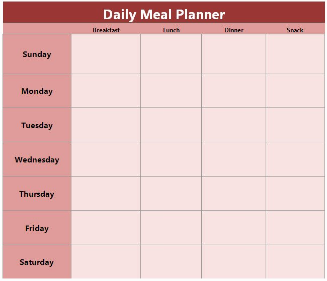 Daily Meal Plan Template New Food and Family