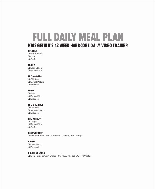 Daily Meal Plan Template Unique Daily Menu Planner Template 6 Free Pdf Documents