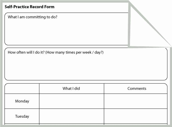 Dance Lesson Plan Template Beautiful Self Practice Record form Cbt Homework Worksheet