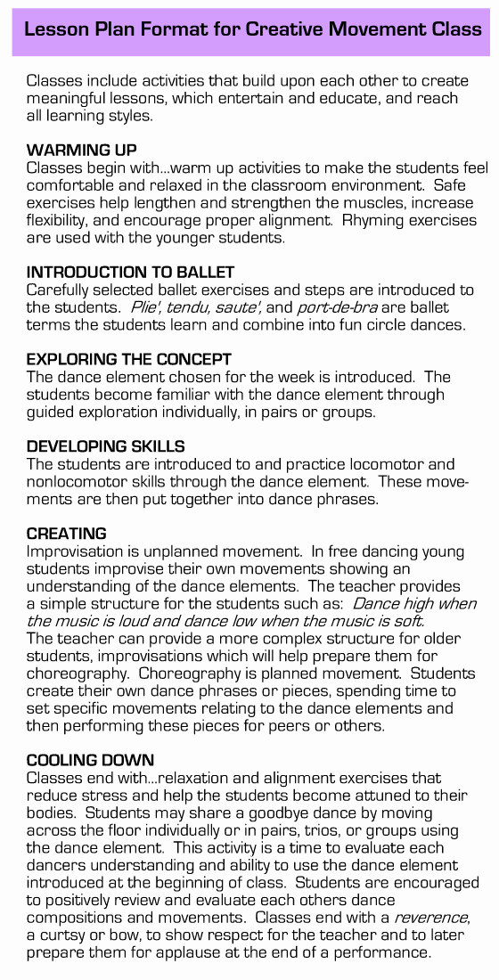 Dance Lesson Plan Template Inspirational Alaska Creative Dance Lesson Plan