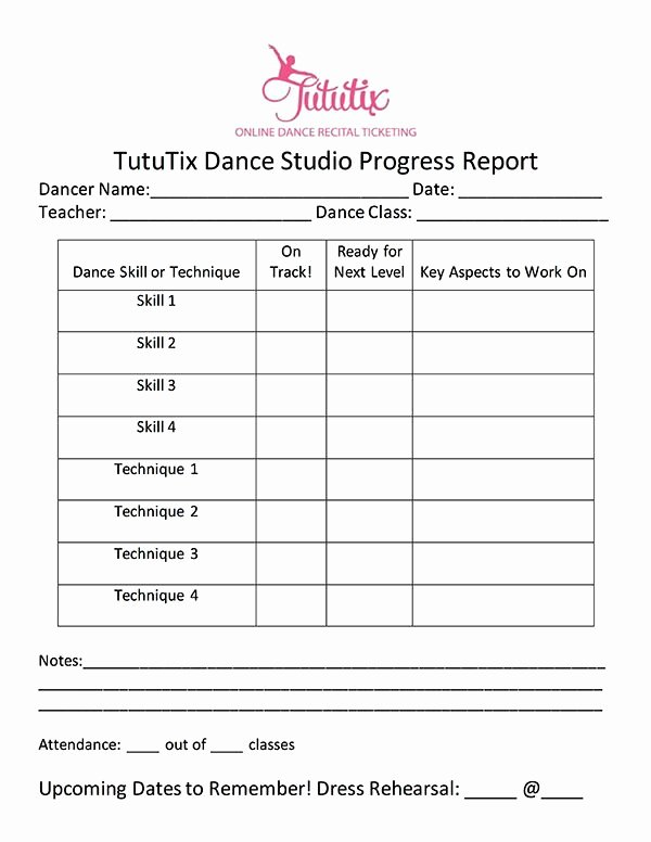 Dance Lesson Plan Template Luxury the Dance Progress Report How to Progress