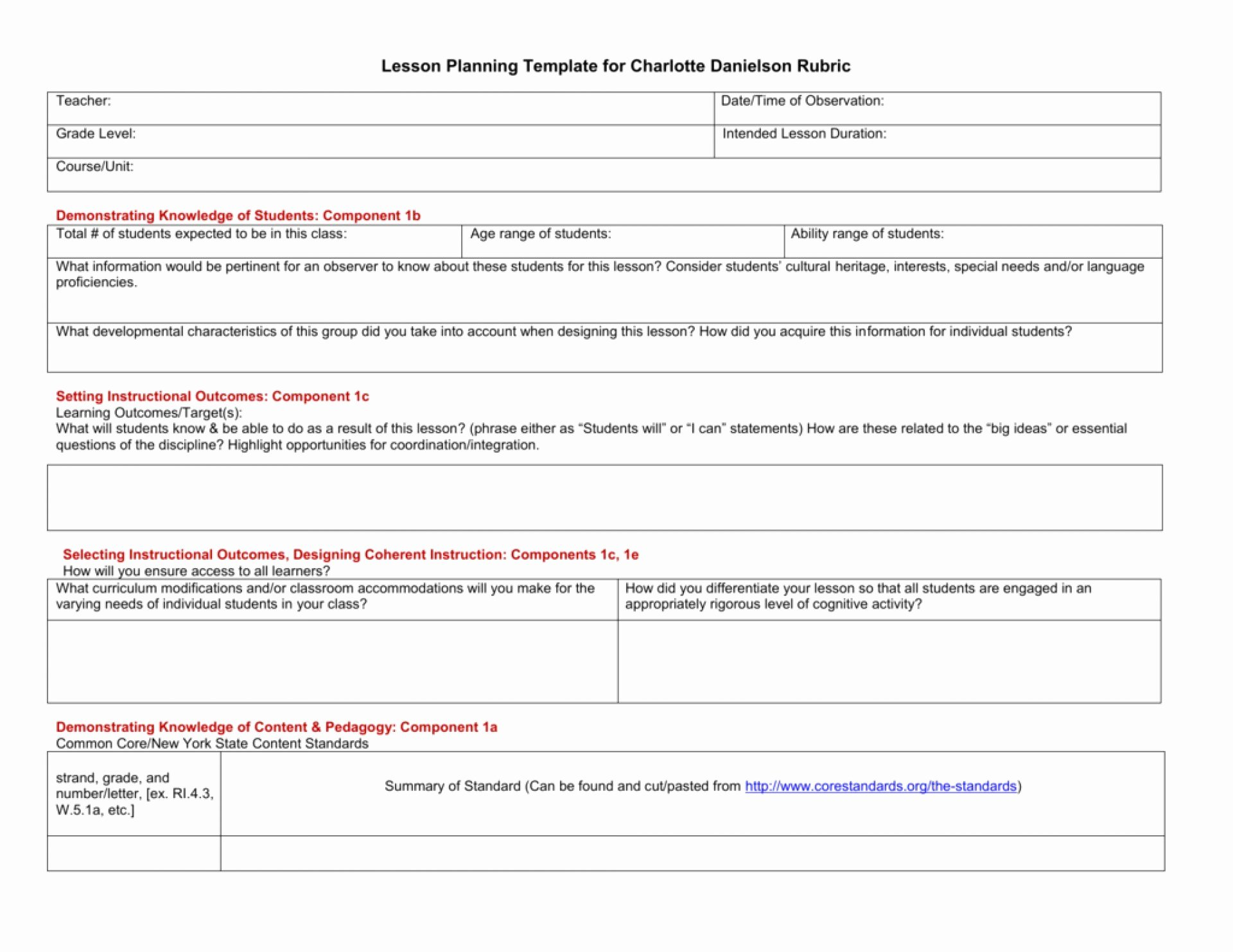 Danielson Framework Lesson Plan Template Fresh Danielson Lesson Plan Template Example – 43 New Danielson