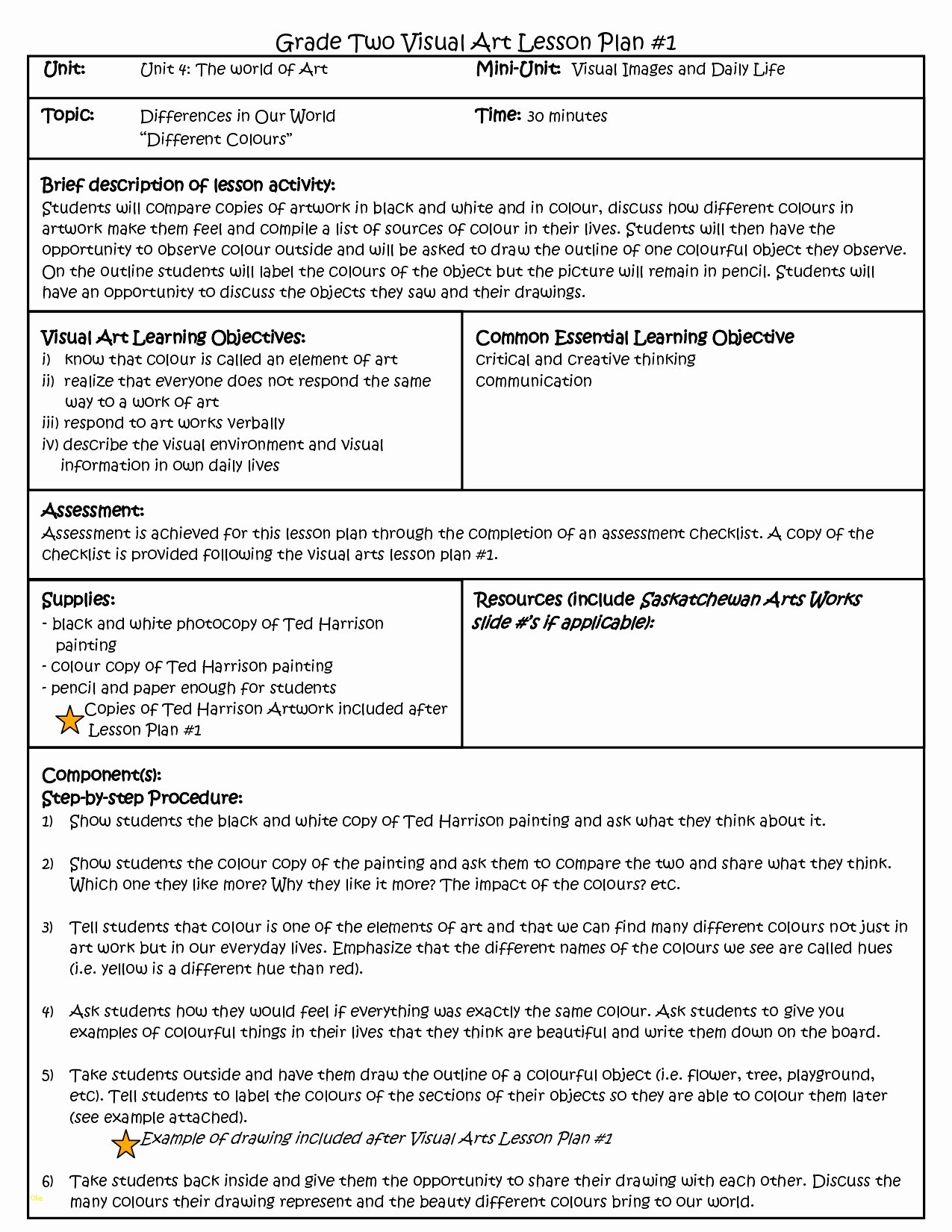 danielson lesson plan template