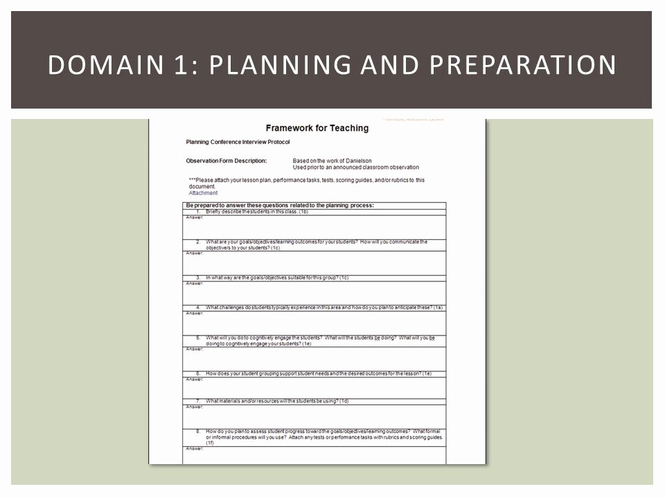 Danielson Lesson Plan Template Awesome Introduction Framework for Teaching by Charlotte Danielson