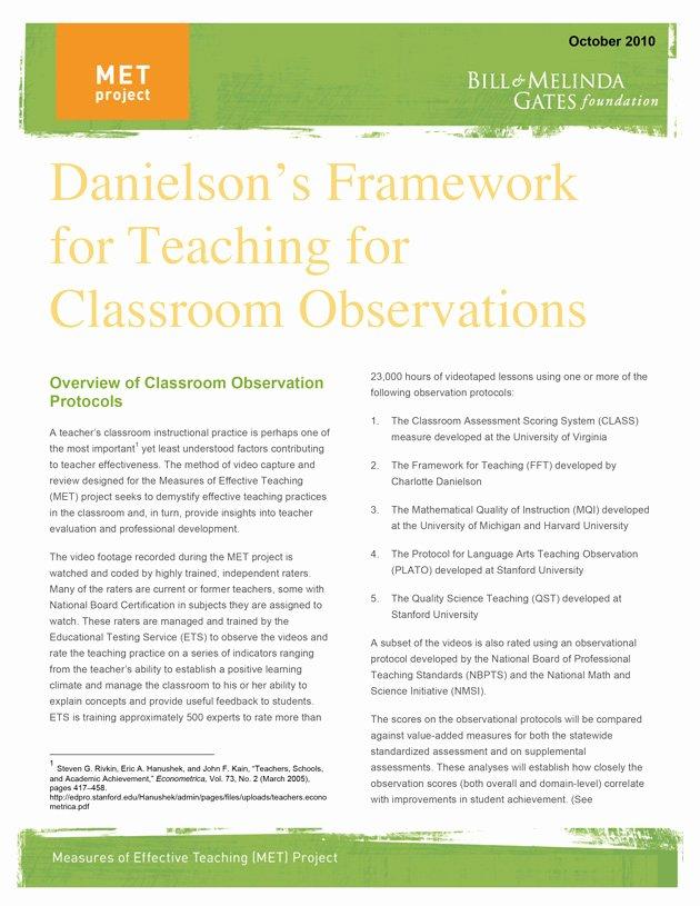 Danielson Lesson Plan Template Fresh Danielson Framework Pdf