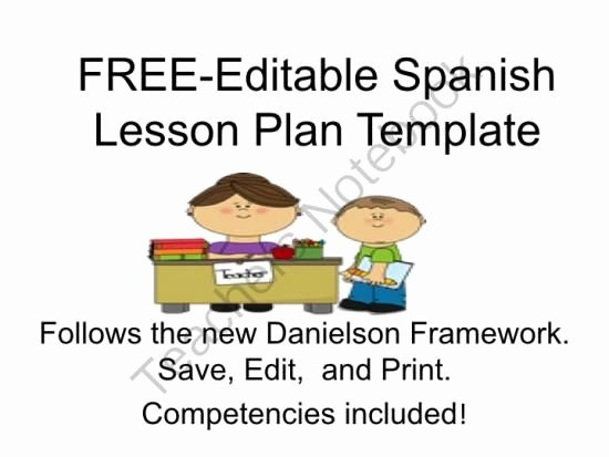 Danielson Lesson Plan Template Lovely Pin by Teacher S Notebook On Spanish foreign Language Esl