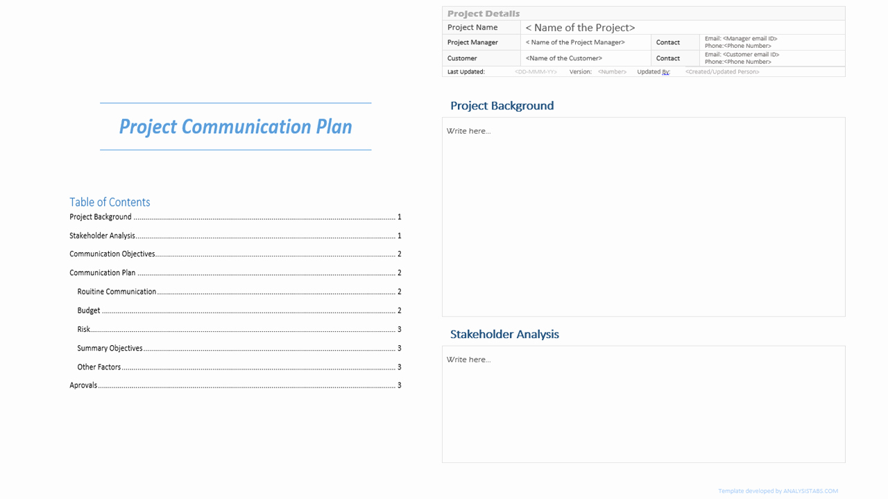Data Analysis Plan Template Inspirational Project Munication Plan Template Analysistabs