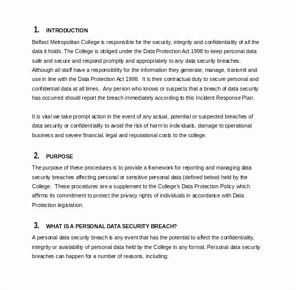 Data Breach Response Plan Template Unique Emergency Response Plan Template Information Security