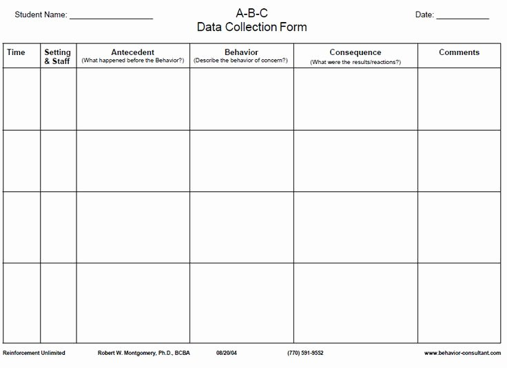 Data Collection Plan Template Lovely This is An A B C Data Collection Sheet Antecedent