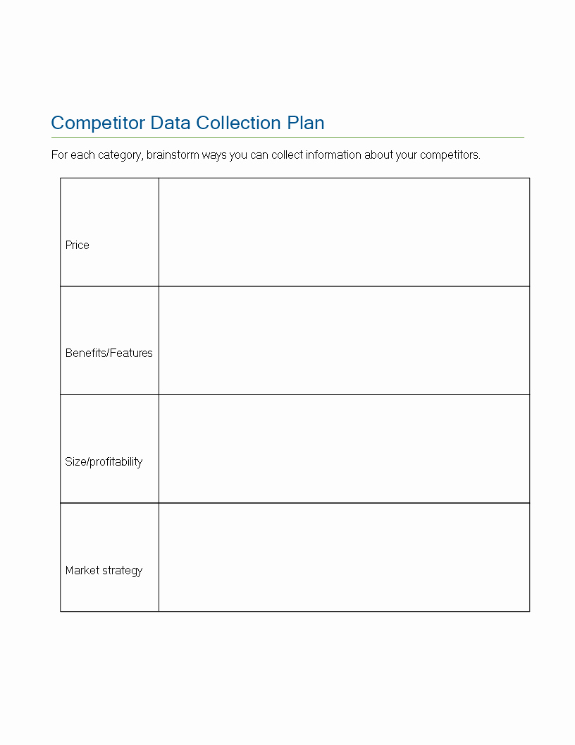 Data Collection Plan Template New Free Petitor Data Collection Plan