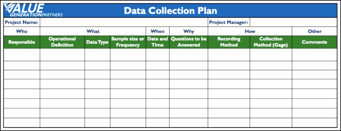 Data Collection Plan Template Unique Generating Value by Using A Data Collection Plan – Value