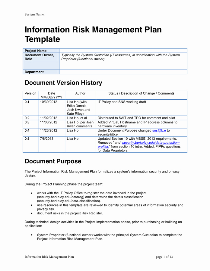 Data Management Plan Template Awesome Information Risk Management Plan Template In Word and Pdf