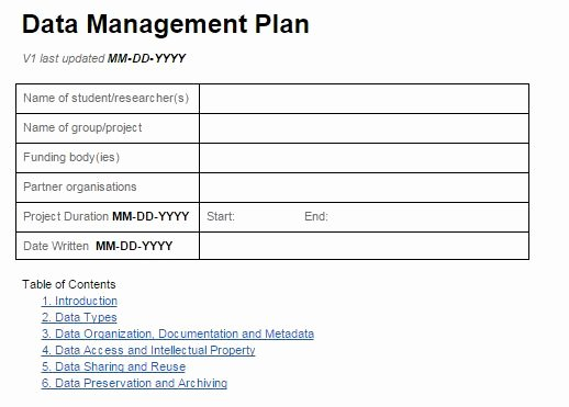 Data Management Plan Template New Introduction to Data Management Research Data Management