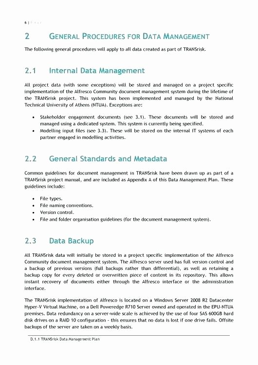 Data Management Plan Template Unique Data Management Plan Examples Website Templates Ideas