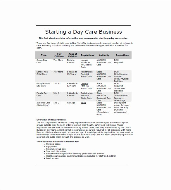 Daycare Business Plan Template New Daycare Business Plan Template 12 Free Word Excel Pdf