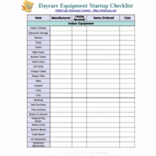 Daycare Cleaning Checklist Templates Awesome Startup Equipment Checklist Download