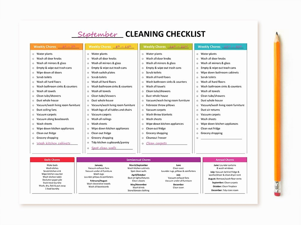 Daycare Cleaning Checklist Templates Best Of Printable Monthly Cleaning Checklist
