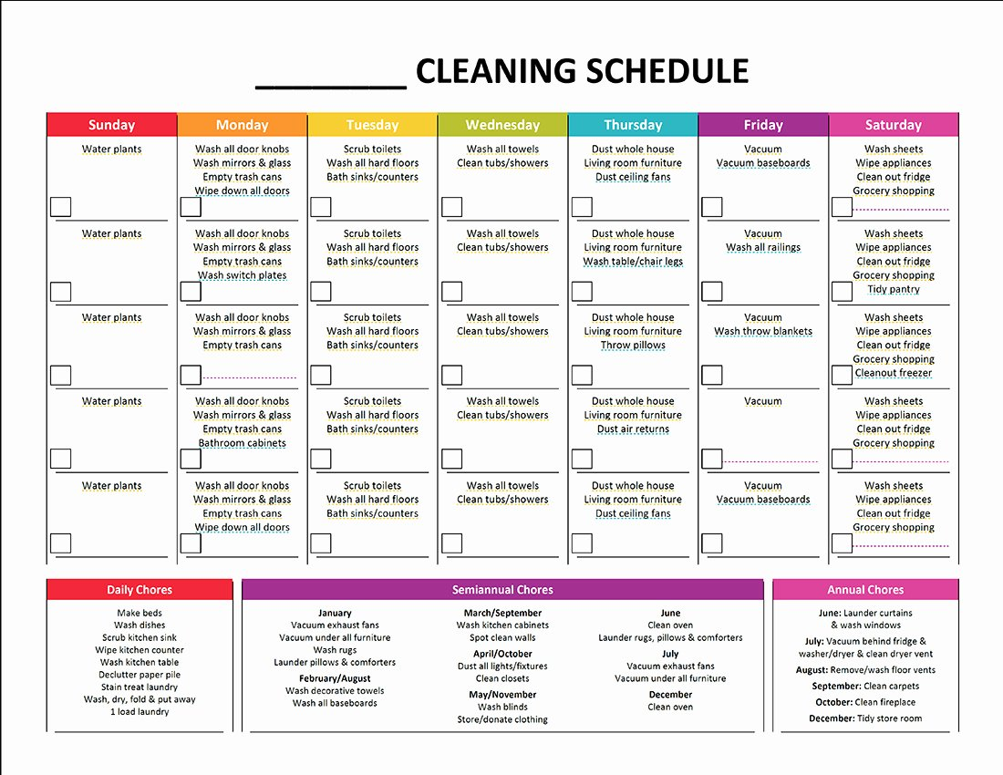 Daycare Cleaning Checklist Templates Fresh Plete Housekeeping Printable Set