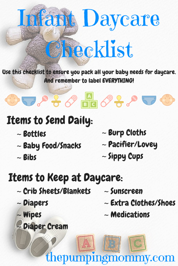 infant daycare checklist what to pack and label