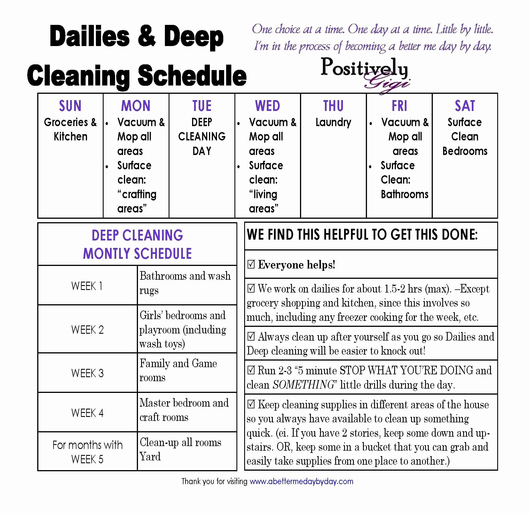 Daycare Cleaning Checklist Templates Lovely Housework Schedule Google Search