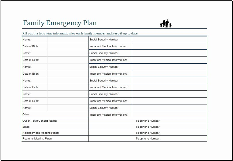 Daycare Emergency Preparedness Plan Template Beautiful Family Emergency Preparedness Plan Template Invitation