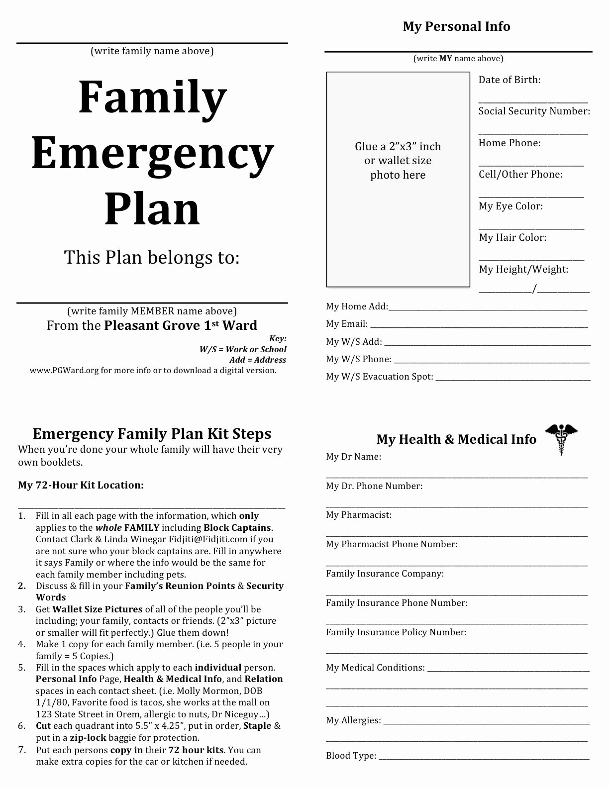 Daycare Emergency Preparedness Plan Template Elegant Family Emergency Plan Printable Documents for Your
