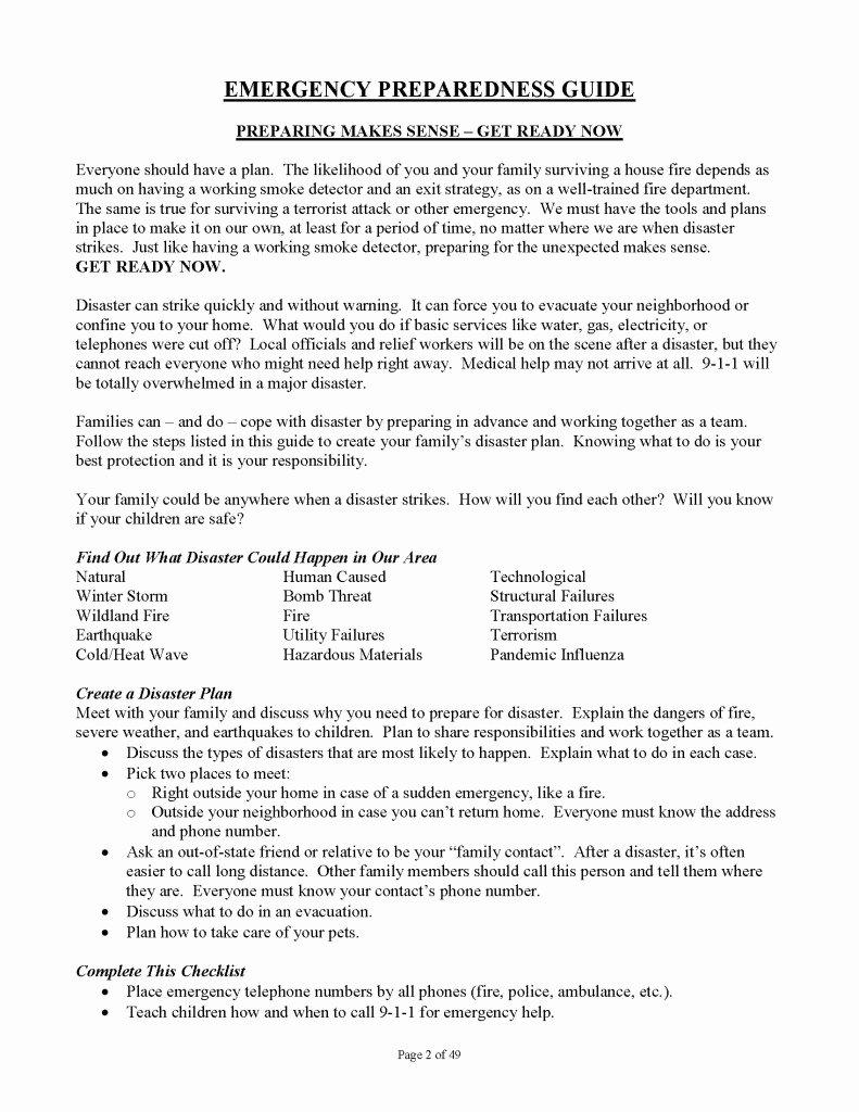 Daycare Emergency Preparedness Plan Template Elegant Family Emergency Preparedness