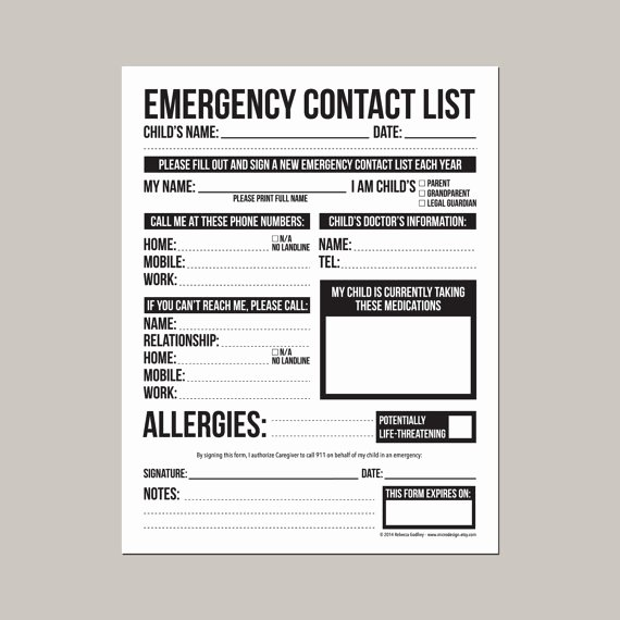 Daycare Emergency Preparedness Plan Template Fresh Emergency Contact form for Nanny Babysitter or by