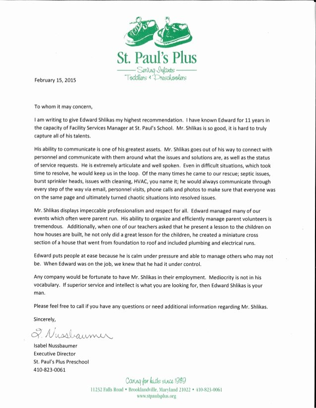 Daycare Letter Of Recommendation Fresh isabel Nussbaumer Executive Director Of St Paul S Plus