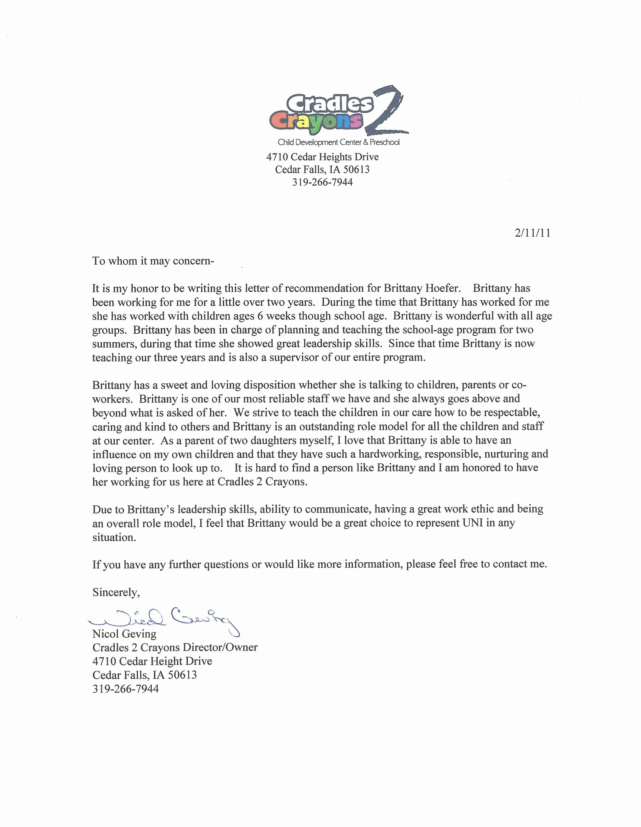 Daycare Letter Of Recommendation Unique Daycare Director Nicol Geving Brittany Ann Hoefer