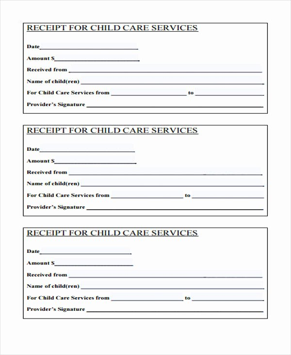 Daycare Tax Receipt Template Beautiful Printable Receipt forms 41 Free Documents In Word Pdf