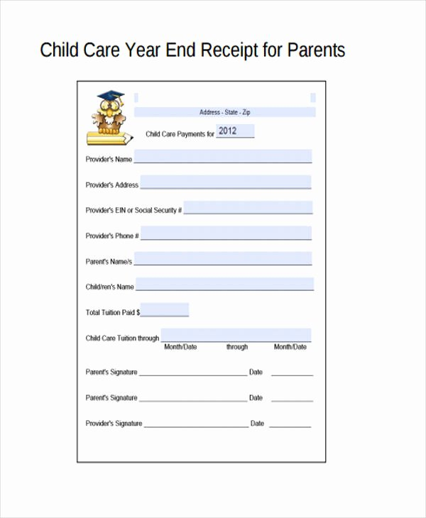 Daycare Tax Receipt Template Lovely Printable Receipt forms 41 Free Documents In Word Pdf