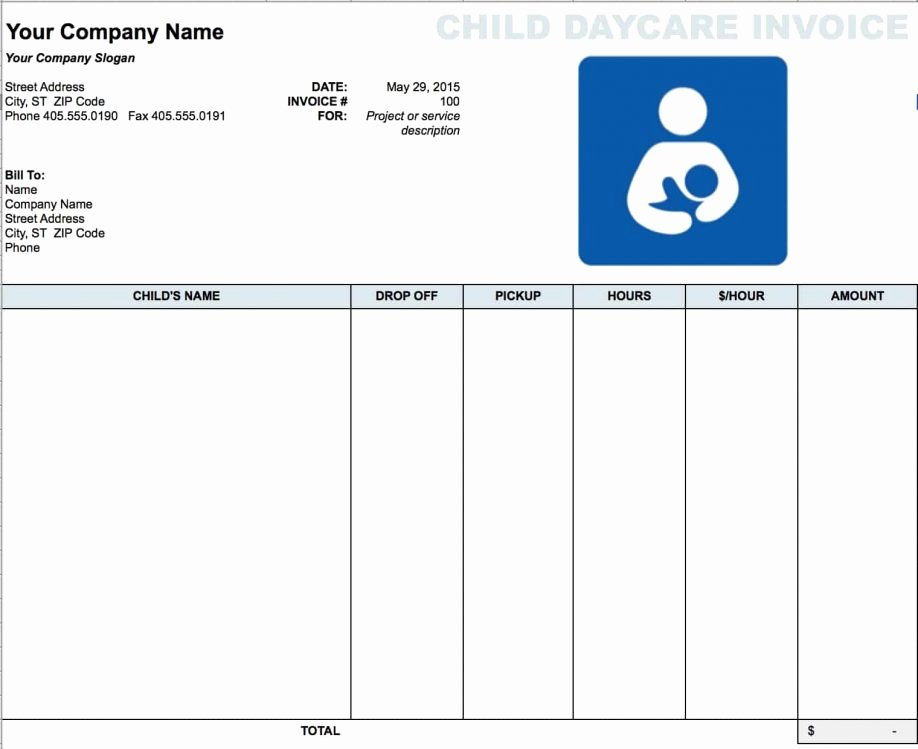 Daycare Tax Receipt Template Unique Blank Receipt Templates Free Daycare Child Invoice