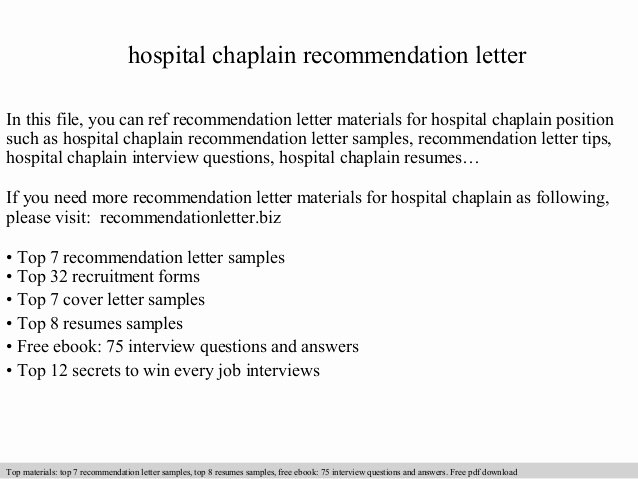Define Letter Of Recommendation Fresh Hospital Chaplain Re Mendation Letter