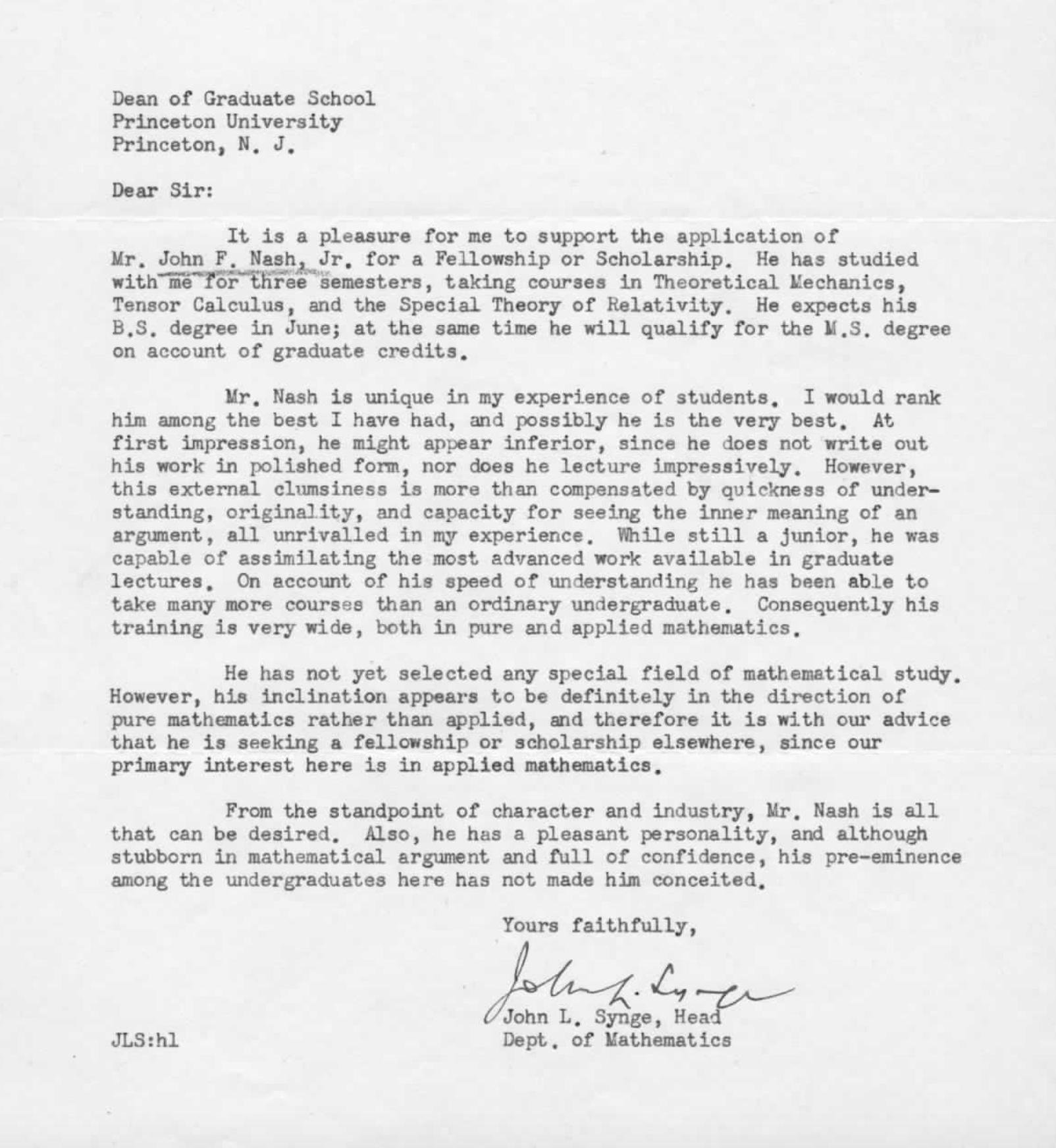 Define Letter Of Recommendation Unique John Nash Re Mendation Letter Math