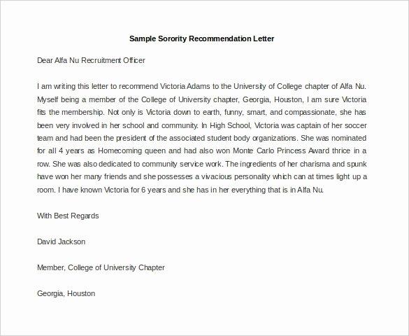Delta Sigma theta Recommendation Letter Awesome sorority Re Mendation Letter Letter Of Re Mendation