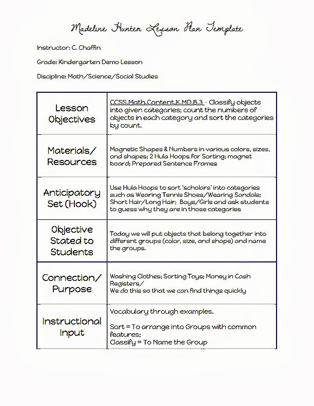 Demo Lesson Plan Template Best Of Madeline Hunter Lesson Plan Template Microsoft Word Kezo