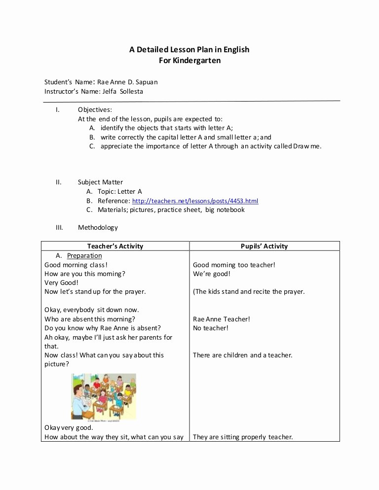 Demo Lesson Plan Template Lovely Detailed Lesson Plan In English for Kindergarten