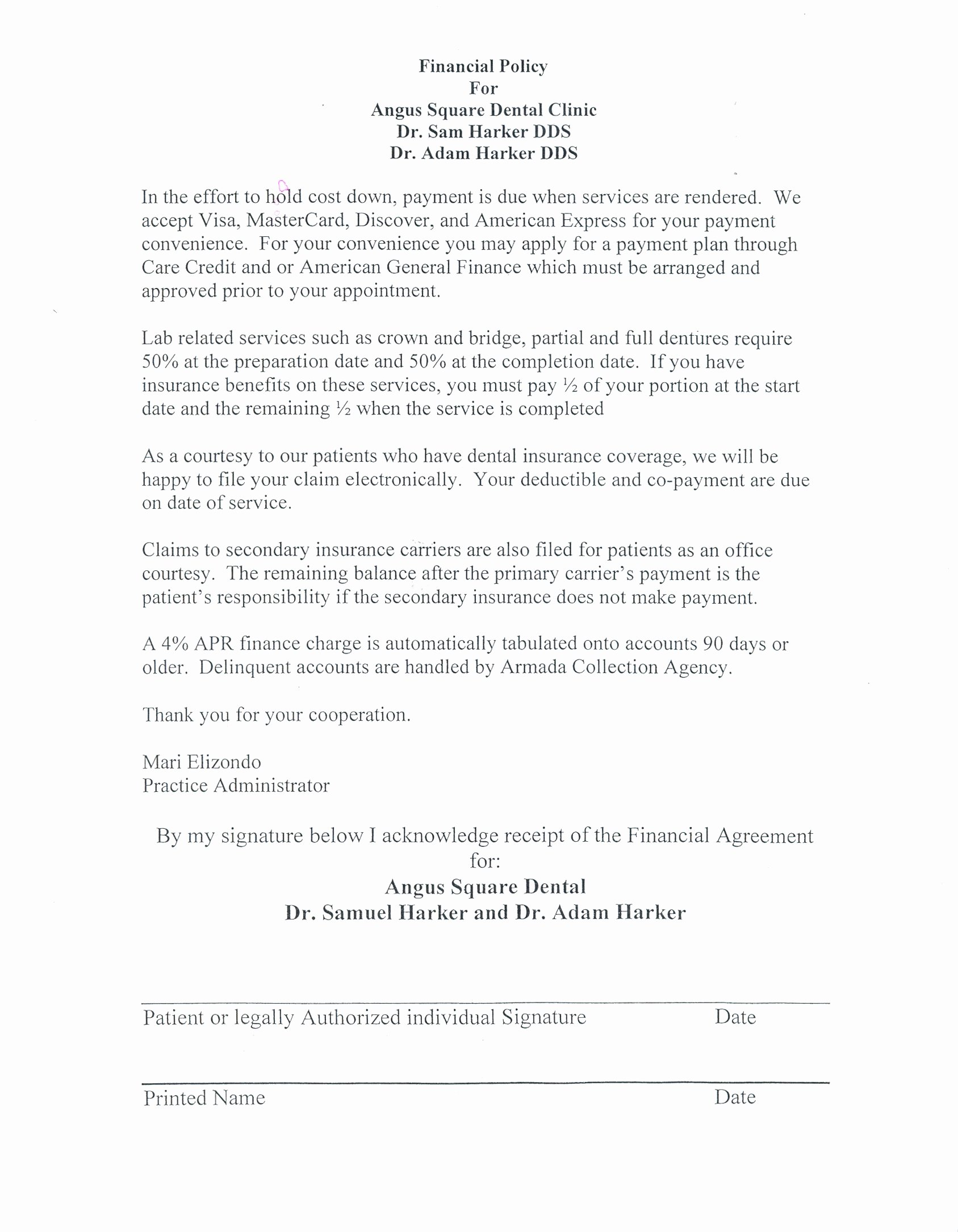 Dental Financial Agreement Template Awesome First Visit