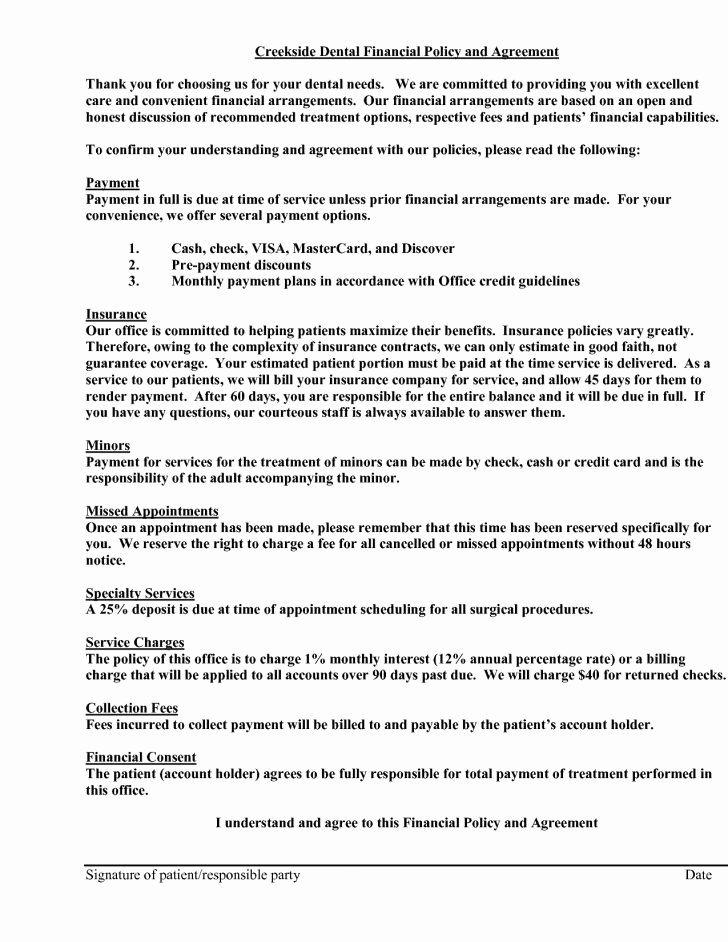 Dental Financial Agreement Template Beautiful Payment Plan Agreement Resume and Cover Letter Dental