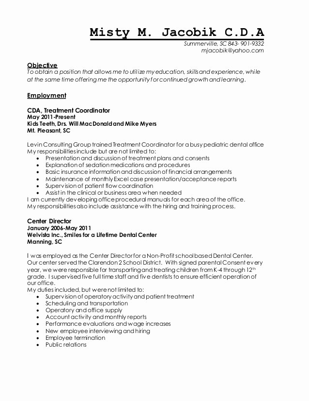 Dental Financial Agreement Template Best Of Mistym Jacobik Bulleted Resume